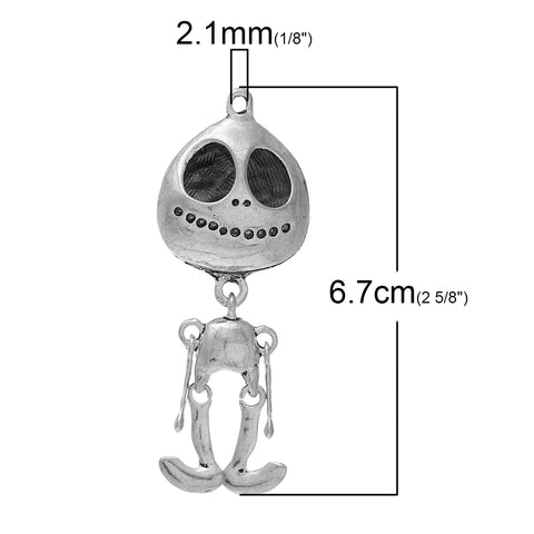 Sexy Sparkles Extra Terrestrial ET Jack Skull Charm Pendant Silver Tone 67mm x 25mm