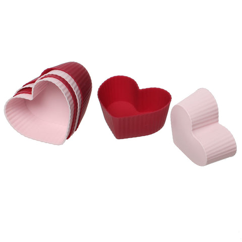 Sexy sparkles 6 pcs Baking Tools Silicone Heart Molds Cupcake Bakeware 2 inch