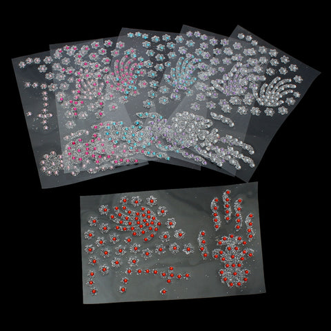 Sexy Sparkles Glitter Shimmer Temporary Tattoo Sticker Body Art Flower with Rhinestones Design 1 Sheet (Hot Pink)