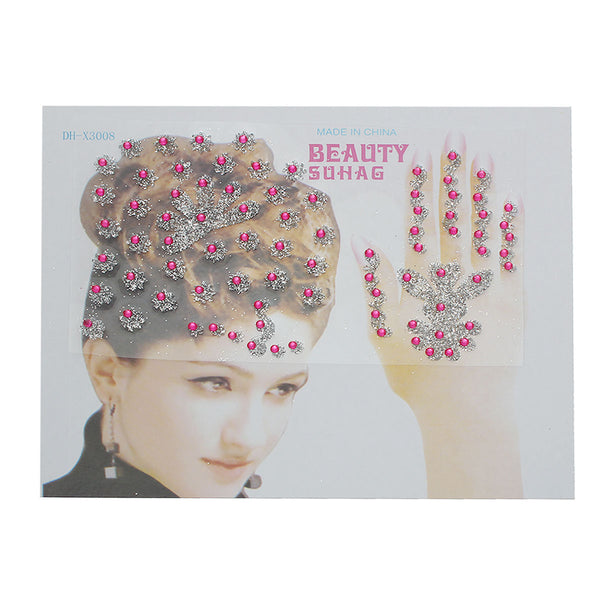 Sexy Sparkles Glitter Temporary Tattoo Sticker Body Art Flowers with Rhinestones 1 Sheet (Hot Pink)