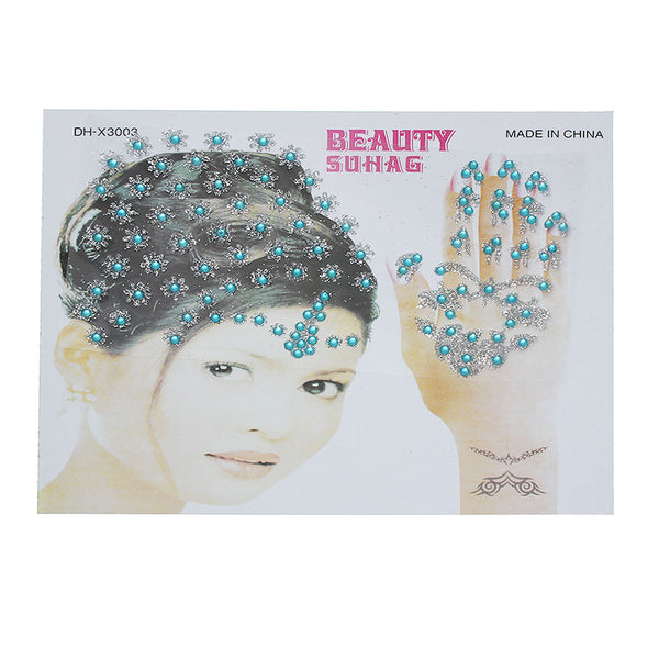 Sexy Sparkles Glitter Shimmer Temporary Tattoo Sticker Body Art Little Flower with Rhinestones Pattern 1 Sheet (Blue)