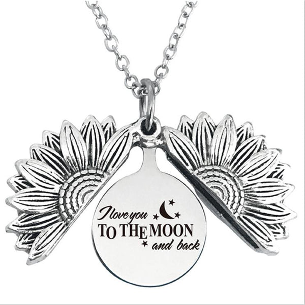 I Love You to The Moon Stainless Steel & Alloy Opens Sunflower Necklace