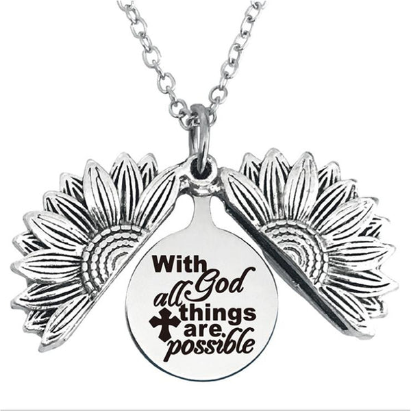 With god All Things are Possible Stainless Steel & Alloy Opens Sunflower Necklace