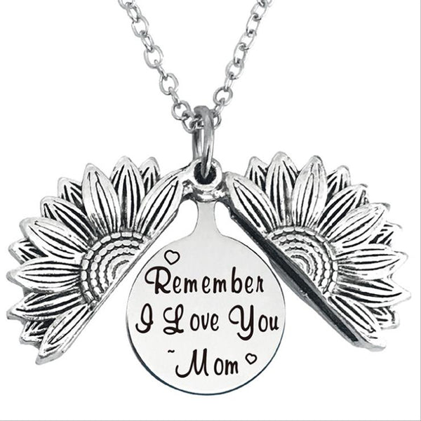 Remember i Love You mom Stainless Steel & Alloy Opens Sunflower Necklace…
