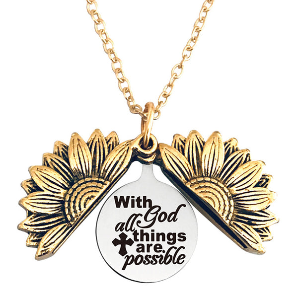 With god All Things are Possible Stainless Steel & Alloy Sunflower Link Necklace Double Sided Opens…