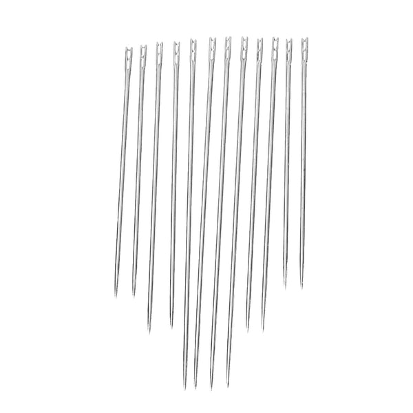 12 Pcs Self Threading Sewing Needles Two Holes .8mm,36mm,42mm,50mm