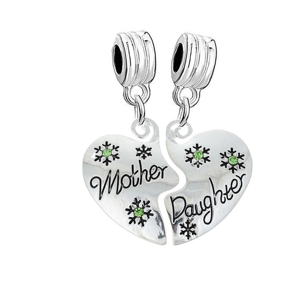 "1 Pair Christmas Snowflake "" Mother & Daughter ""Rhinestone Fits Snake Chains Brand Charm Bracelets … - Sexy Sparkles Fashion Jewelry - 1"