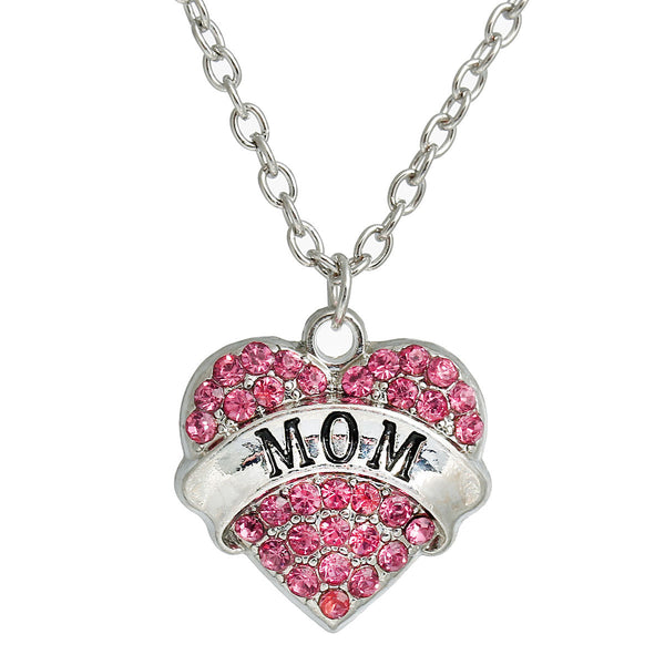 "Link Cable Chain Silver Tone "" MOM"" Carved on Heart Pendant With Pink Rhinestone - Sexy Sparkles Fashion Jewelry - 1"