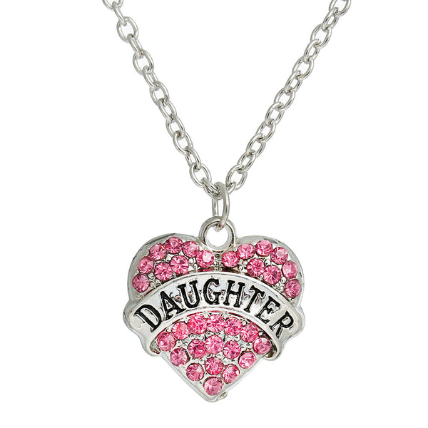 "Link Cable Chain Silver Tone "" DAUGHTER "" Carved on Heart Pendant With Pink Rhinestone - Sexy Sparkles Fashion Jewelry - 1"