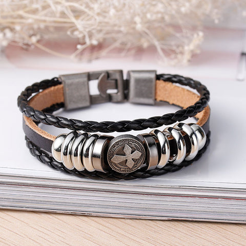 Womens and Men's Real Leather Multilayer Bracelets Black Cord Metal Gunmetal Cross Beads With Clasp Hook - Sexy Sparkles Fashion Jewelry - 3