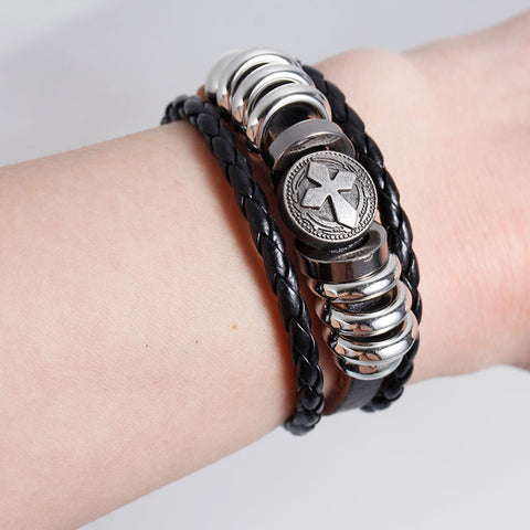 Womens and Men's Real Leather Multilayer Bracelets Black Cord Metal Gunmetal Cross Beads With Clasp Hook - Sexy Sparkles Fashion Jewelry - 2