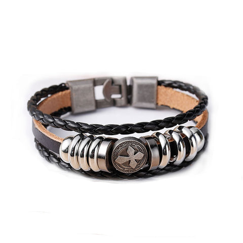 Womens and Men's Real Leather Multilayer Bracelets Black Cord Metal Gunmetal Cross Beads With Clasp Hook - Sexy Sparkles Fashion Jewelry - 1