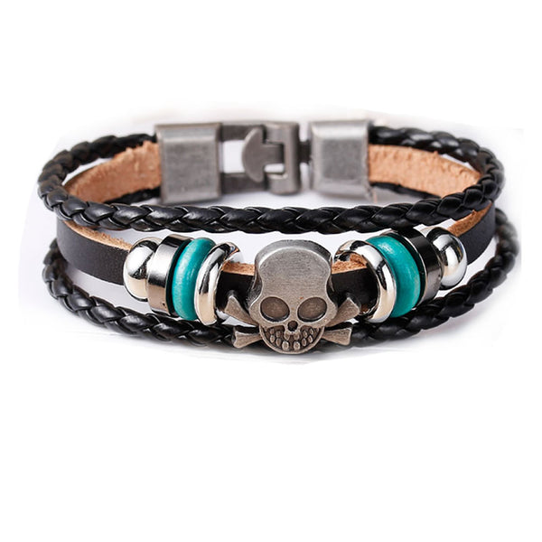 Womens and Men's Multilayer Bracelets Black Cord Metal Multicolor Skull Shape Beads With Clasp Hook - Sexy Sparkles Fashion Jewelry - 1