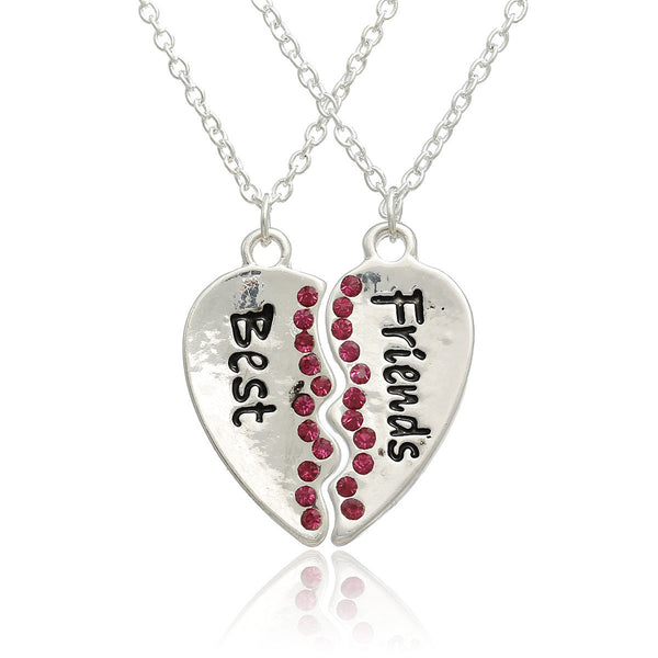 "Set of 2 Broken Heart Pendant Necklace Link Cable Chain Silver Tone Friendship BFF Message "" BEST FRIENDS "" Fuchsia Rhinestone - Sexy Sparkles Fashion Jewelry - 1"