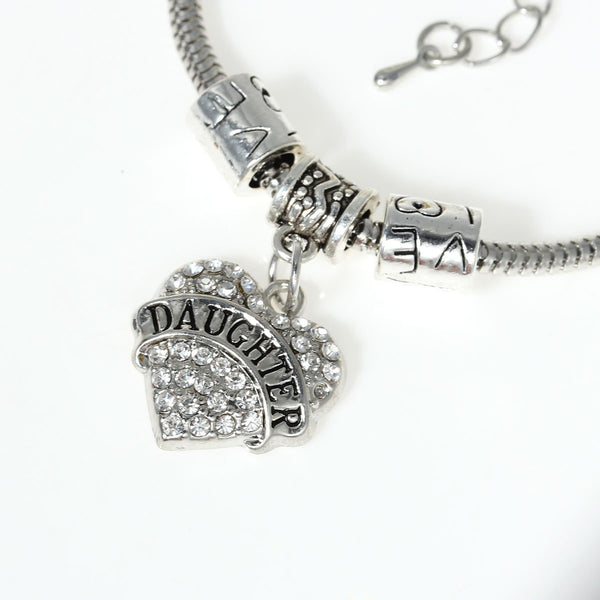 """Daughter"" European Snake Chain Charm Bracelet with Clear Rhinestone Heart Pendant and Love Spacer Beads - Sexy Sparkles Fashion Jewelry - 1"