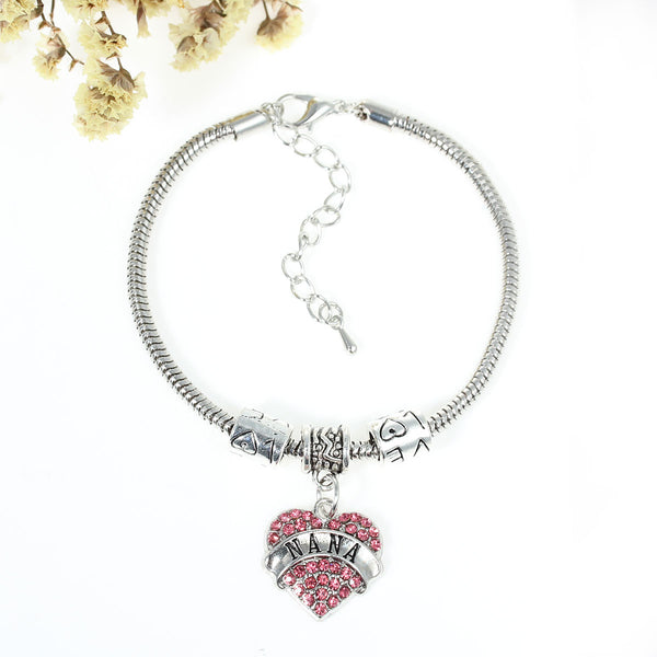 """Nana"" European Snake Chain Charm Bracelet with Pink Rhinestones Heart Pendant and ""Love"" Spacer Beads"