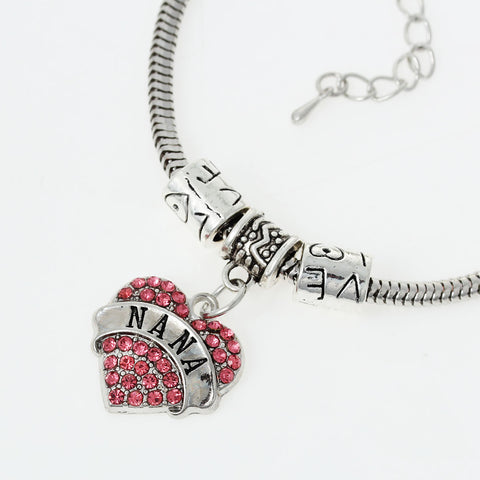 """Nana"" European Snake Chain Charm Bracelet with Pink Rhinestones Heart Pendant and ""Love"" Spacer Beads - Sexy Sparkles Fashion Jewelry - 2"