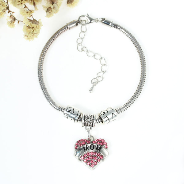 """Mom"" European Snake Chain Charm Bracelet with Heart Pendant and Love Spacer Beads - Sexy Sparkles Fashion Jewelry - 1"