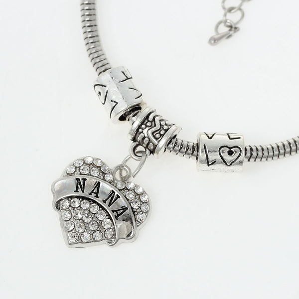 """Nana"" European Snake Chain Charm Bracelet with Heart Pendant and ""Love"" Spacer Beads - Sexy Sparkles Fashion Jewelry - 1"