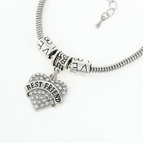 """Best Friend "" European Snake Chain Charm Bracelet with Heart Pendant and Love Spacer Beads - Sexy Sparkles Fashion Jewelry - 2"