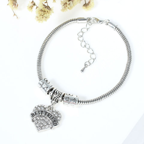 """Best Friend "" European Snake Chain Charm Bracelet with Heart Pendant and Love Spacer Beads - Sexy Sparkles Fashion Jewelry - 3"
