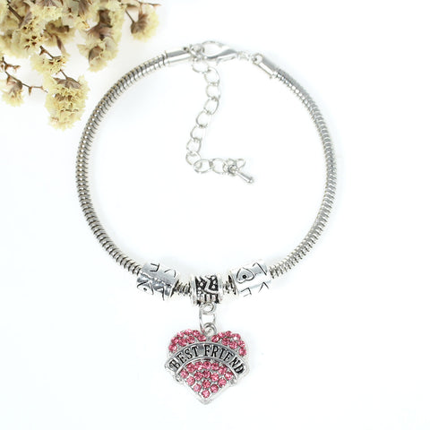 """Best Friends"" European Snake Chain Charm Bracelet with Pink Rhinestones Heart Pendant and Love Spacer Beads - Sexy Sparkles Fashion Jewelry - 3"