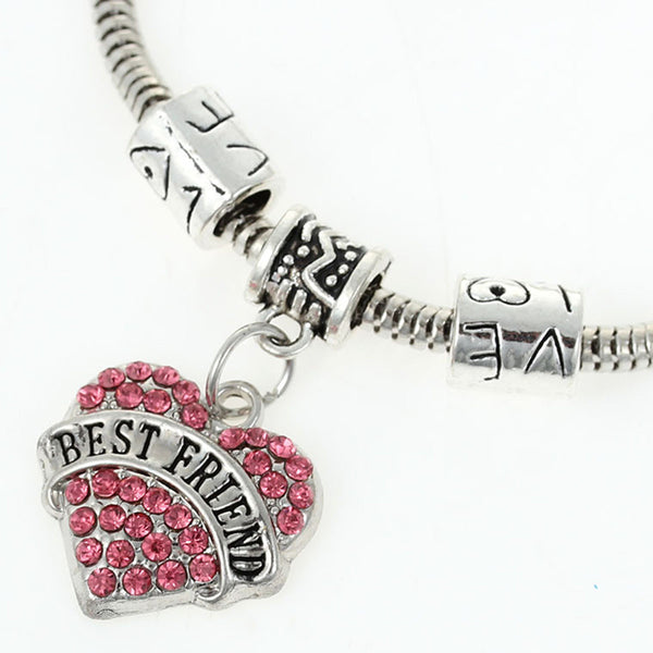 """Best Friends"" European Snake Chain Charm Bracelet with Pink Rhinestones Heart Pendant and Love Spacer Beads"