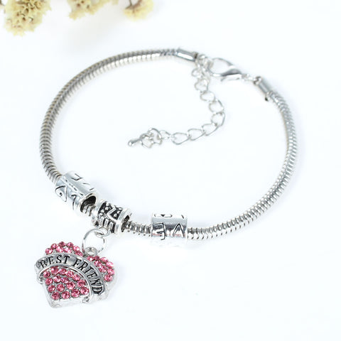 """Best Friends"" European Snake Chain Charm Bracelet with Pink Rhinestones Heart Pendant and Love Spacer Beads - Sexy Sparkles Fashion Jewelry - 2"