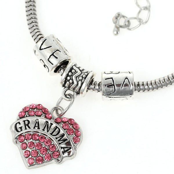 """Grandma"" European Snake Chain Charm Bracelet with Pink Rhinestones Heart Pendant and Love Spacer Beads - Sexy Sparkles Fashion Jewelry - 1"