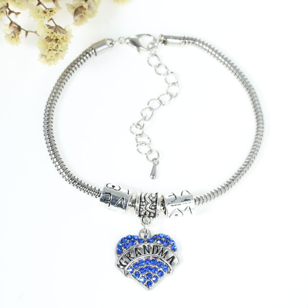 """Grandma"" European Snake Chain Charm Bracelet with Blue Rhinestones Heart Pendant and Love Spacer Beads - Sexy Sparkles Fashion Jewelry - 1"