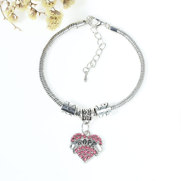 """Hope"" European Snake Chain Charm Bracelet with Pink Rhinestones Heart Pendant and Love Spacer Beads - Sexy Sparkles Fashion Jewelry - 1"
