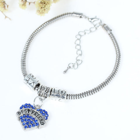 """Best Friends"" European Snake Chain Charm Bracelet with Blue Rhinestones Heart Pendant and Love Spacer Beads - Sexy Sparkles Fashion Jewelry - 2"