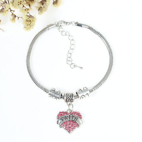 """Faith"" European Snake Chain Charm Bracelet with Pink Rhinestones Heart Pendant and Love Spacer Beads"