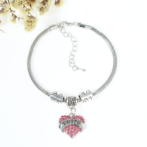 """Faith"" European Snake Chain Charm Bracelet with Pink Rhinestones Heart Pendant and Love Spacer Beads - Sexy Sparkles Fashion Jewelry - 1"
