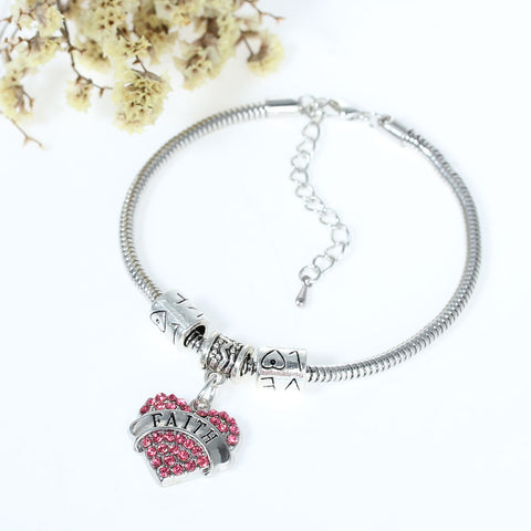 """Faith"" European Snake Chain Charm Bracelet with Pink Rhinestones Heart Pendant and Love Spacer Beads - Sexy Sparkles Fashion Jewelry - 3"