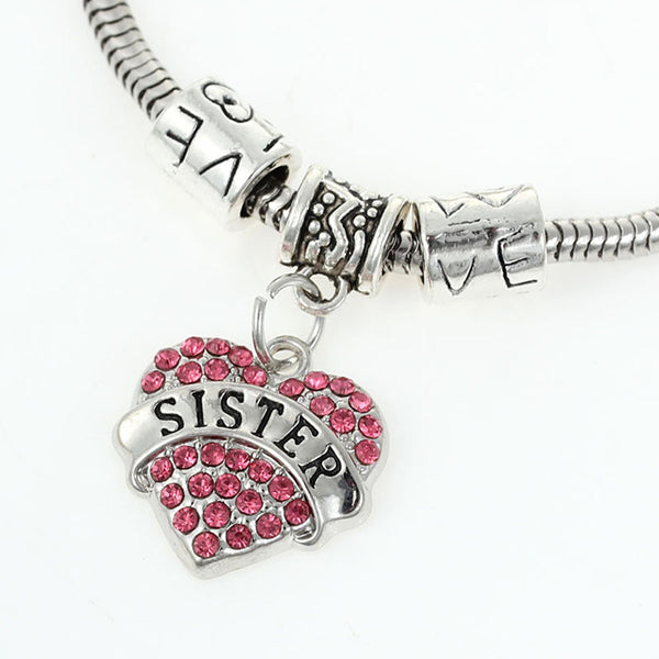 """Sister"" European Snake Chain Charm Bracelet with Rhinestones Heart Pendant and Love Spacer Beads - Sexy Sparkles Fashion Jewelry - 1"