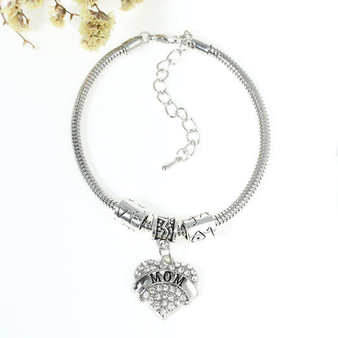"""Mom"" European Snake Chain Charm Bracelet with Clear Heart Pendant and Love Spacer Beads - Sexy Sparkles Fashion Jewelry - 3"