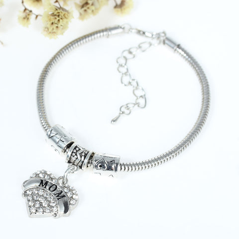 """Mom"" European Snake Chain Charm Bracelet with Clear Heart Pendant and Love Spacer Beads - Sexy Sparkles Fashion Jewelry - 2"