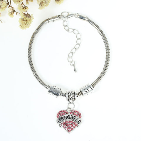 """Daughter"" European Snake Chain Charm Bracelet with Pink Rhinestones Heart Pendant and Love Spacer Beads - Sexy Sparkles Fashion Jewelry - 3"