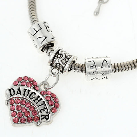 """Daughter"" European Snake Chain Charm Bracelet with Pink Rhinestones Heart Pendant and Love Spacer Beads - Sexy Sparkles Fashion Jewelry - 1"