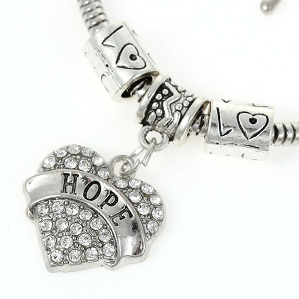 """Hope "" European Snake Chain Charm Bracelet with Rhinestones Heart Pendant and Love Spacer Beads - Sexy Sparkles Fashion Jewelry - 1"