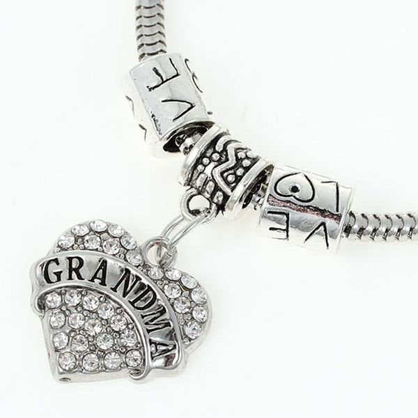 """Grandma"" European Snake Chain Charm Bracelet with Rhinestones Heart Pendant and Love Spacer Beads - Sexy Sparkles Fashion Jewelry - 1"