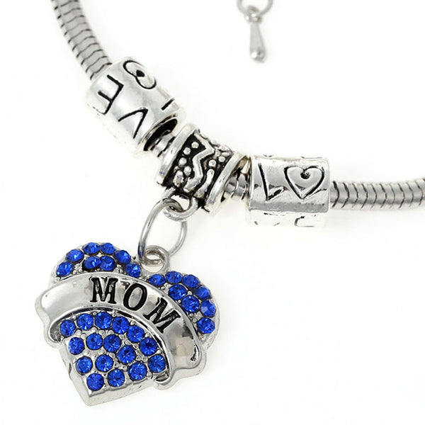"""Mom"" European Snake Chain Charm Bracelet with Blue Rhinestones Heart Pendant and Love Spacer Beads"