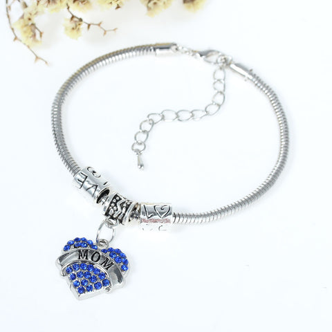 """Mom"" European Snake Chain Charm Bracelet with Blue Rhinestones Heart Pendant and Love Spacer Beads - Sexy Sparkles Fashion Jewelry - 2"