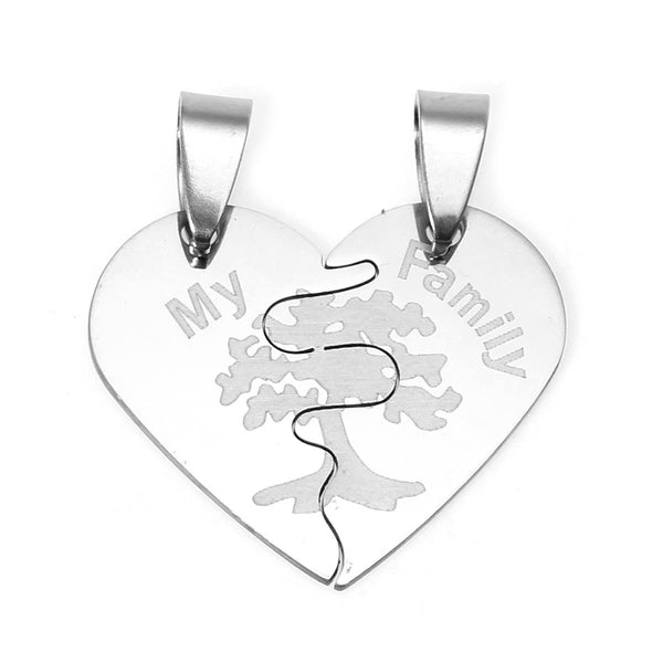SEXY SPARKLES Stainless Steel Mens Womens Couple Pendants Broken Heart My Family Carved - Sexy Sparkles Fashion Jewelry - 1