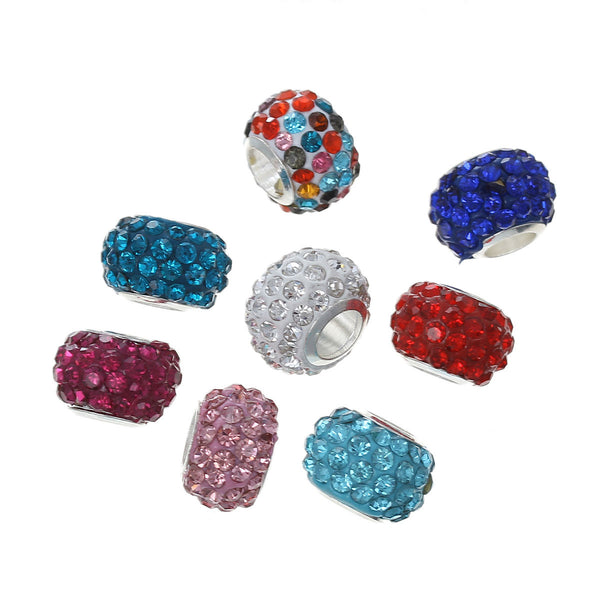 5 Polymer Clay Rhinestones European Charm Beads for European Snake Chain Charm Bracelet(Colors Chosen At Radom) - Sexy Sparkles Fashion Jewelry - 1