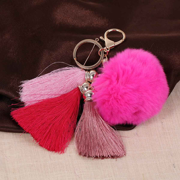 Sexy Sparkles New Fashion Key Chains Key Rings Lobster Clasp Gold Plated Pompom Ball Pendant With Rayon Tassel - Sexy Sparkles Fashion Jewelry - 1