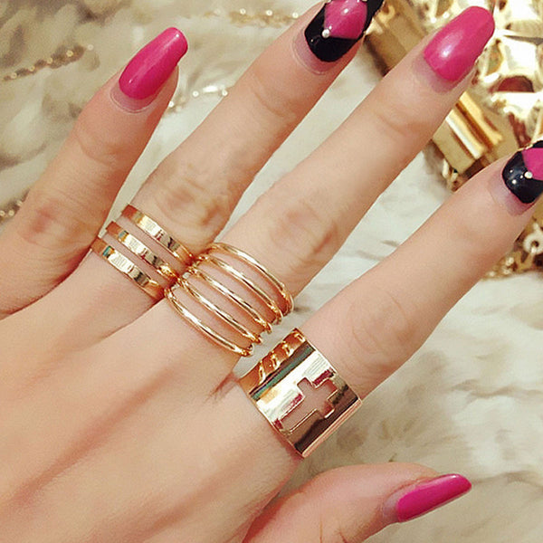 Sexy Sparkles Adjustable Women's Band Knuckle Midi Ring Set Gold Tone Cross & Stripes Pattern 1 Set(3pcs)