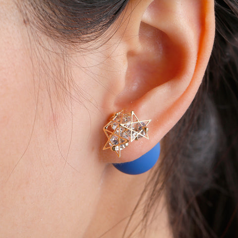 Sexy Sparkles Double Sided Ear Post Stud Earrings Pentagram Star Ball with Rhinestones