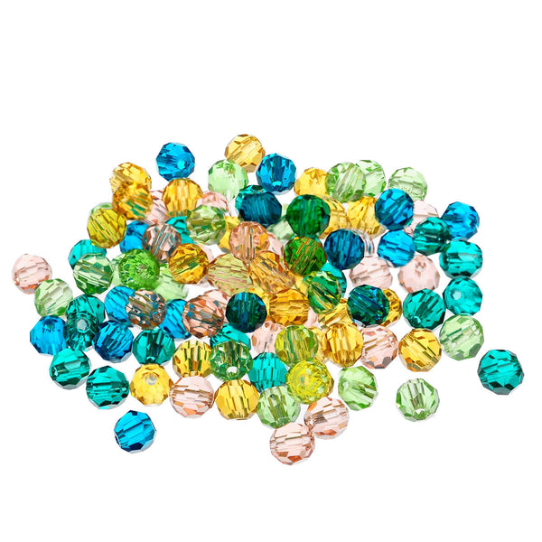 100 Pcs Round Acrylic Crystal Spacer Beads Assorted Colors 4mm - Sexy Sparkles Fashion Jewelry - 1